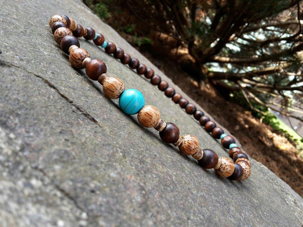 Menko Pánský náhrdelník (kokos, tyrkys, dřevo)1