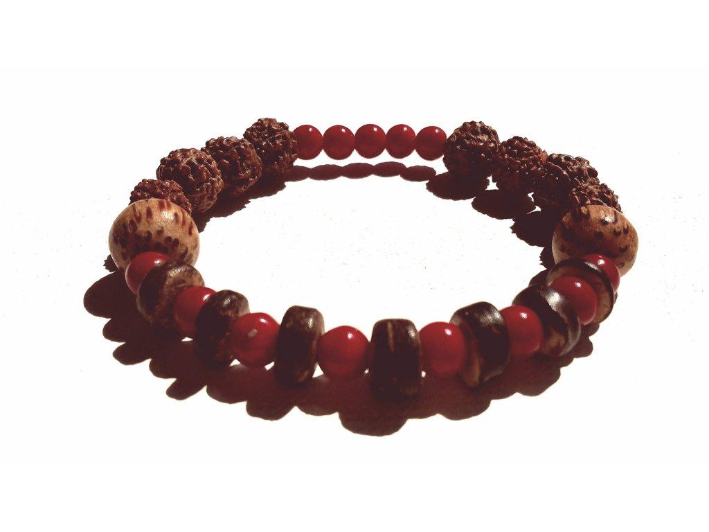 308 naramek rudraksha a cerveny koral