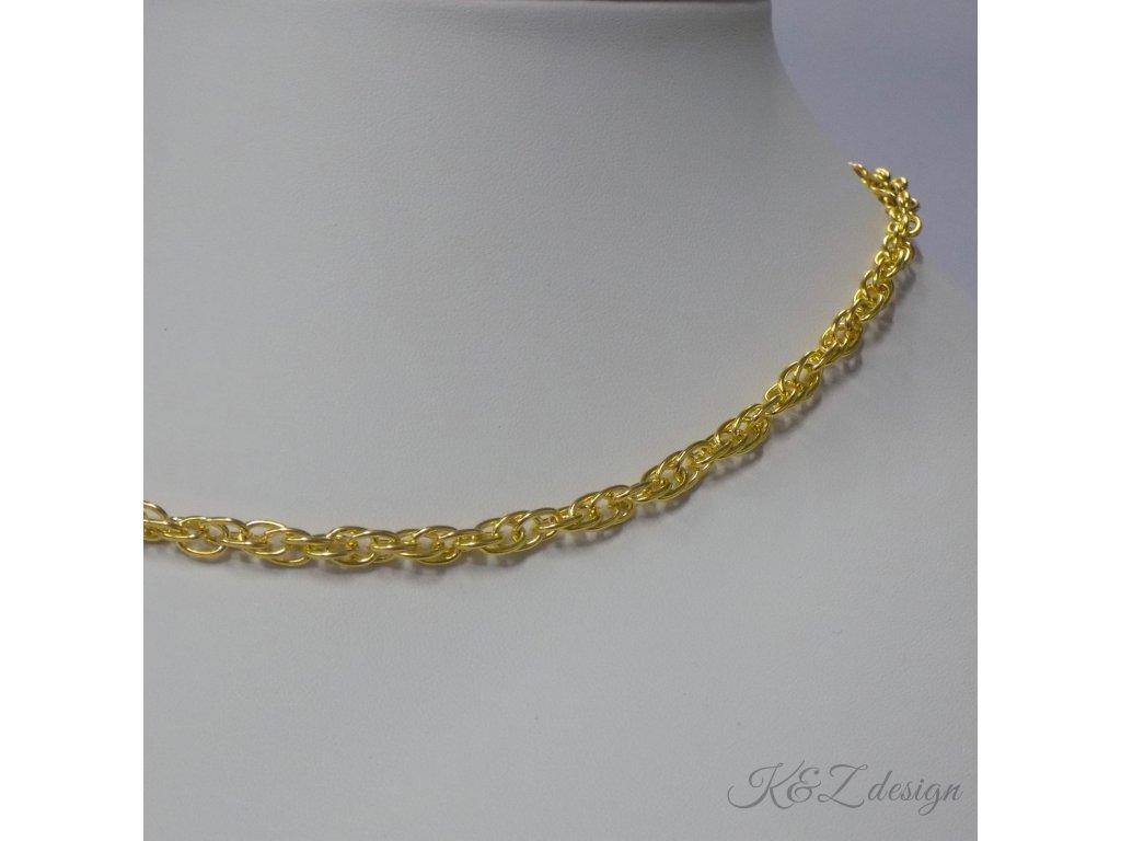 Dvojitý řetízek, zlatý - délka 45 cm