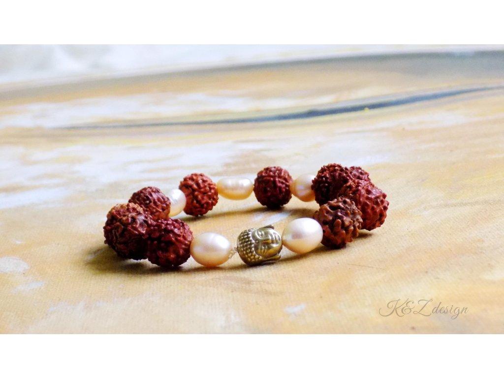 536 pozitivni naramek s rudrakshou a perlami