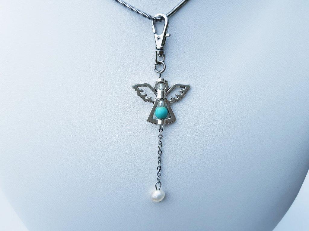 Angel Náhrdelník (ocel,perly,tyrkys)2