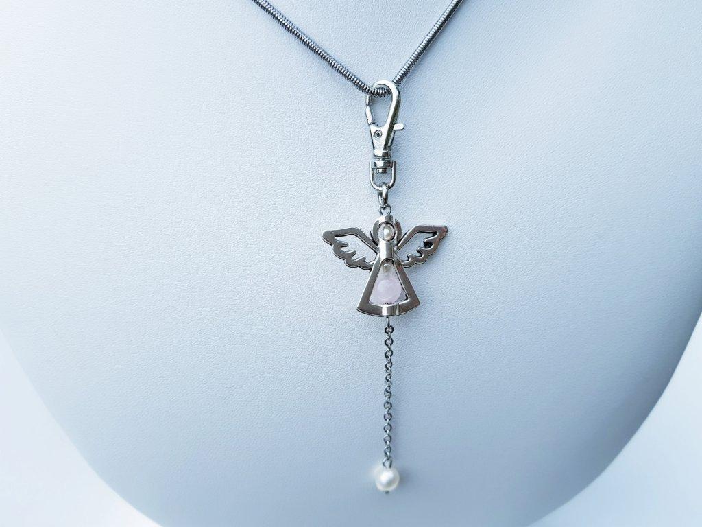 Angel 2 Náhrdelník (ocel, perly, růženín)2