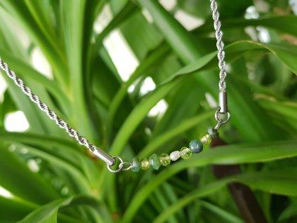 Olivia 3 Náhrdelník (ocel,smaragd,olivín)1