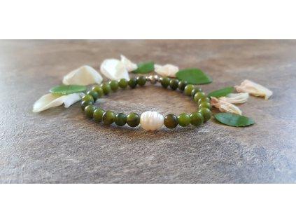 Pawe Náramek (taiwanský jadeit, perla)1
