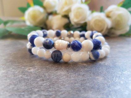 Chrpa Set náramků (sodalit, jadeit, perla)1