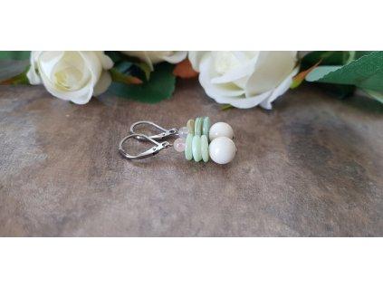 Náušnice s jadeitem, růženínem a perletí1