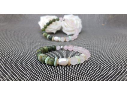 Volnost 4 Náramek (jadeit, růženín, perleť)1