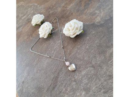 Valentýnka Náhrdelník (chirurg. ocel, růženín)1