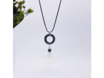 Karin 2 Náhrdelník (hematit, perla, nerez. ocel)1
