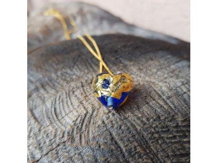 Modré srdce Náhrdelník (ručně vinuté sklo)1