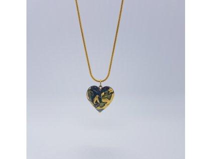 Modrozelené srdce Náhrdelník (ručně vinuté sklo)2