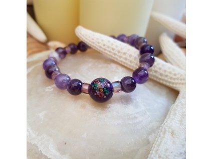 V šeříku Náramek (ametyst, vinutá perla)1