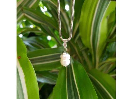 Lota 3 Náhrdelník (nerezová ocel, perla)1