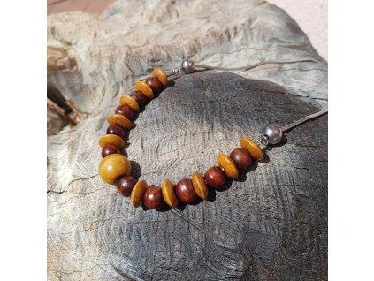 Wangi 3 Unisex náhrdelník (nerezová ocel, dřevo)1