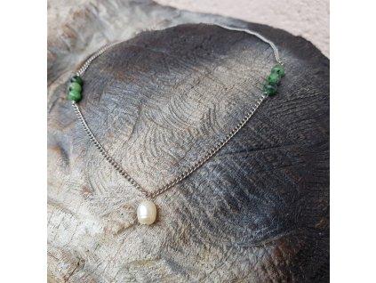 Nenna 2 Náhrdelník (nerezová ocel, rubín, perla)1