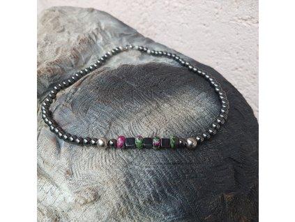 Arlo Pánský náhrdelník (hematit, zoisit)1