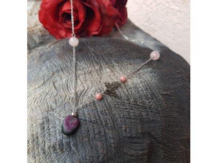Babe Náhrdelník (růženín, rodonit, chirur. ocel)1