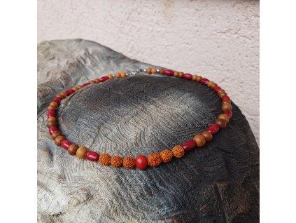 Oliver 2 Pánský náhrdelník (dřevo, rudraksha)1