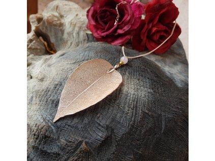 Ynke Ag Náhrdelník (pravý list, růženín)1