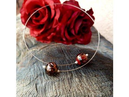 Levitace 4 Náhrdelník (vinuté sklo, perličky)1