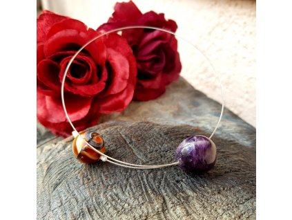 Lavitace 5 Náhrdelník (ametyst, vinutá perla)1
