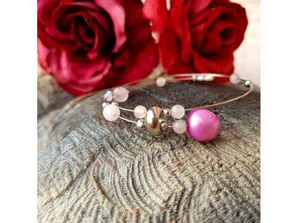 Lavitace 4 Náramek (růženín, perly)1