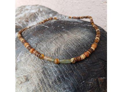 Kurt Pánský náhrdelník (kokos, achát, jaspis)1