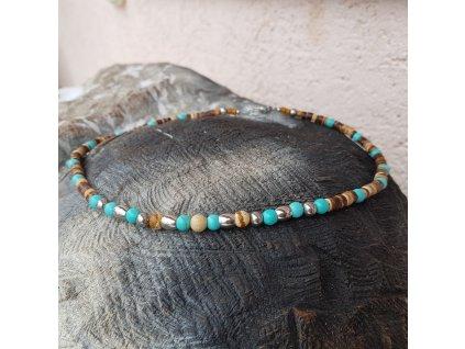 Menko 10 Pánský náhrdelník (kokos, tyrkenit)1