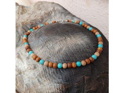 Menko 14 Pánský náhrdelník (santal, tyrkys)1