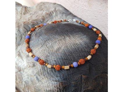 Oliver 3 Pánský náhrdelník (rudraksha, láva)1