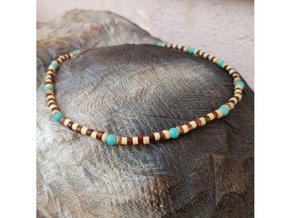 Menko 17 Pánský náhrdelník (dřevo, tyrkys)1