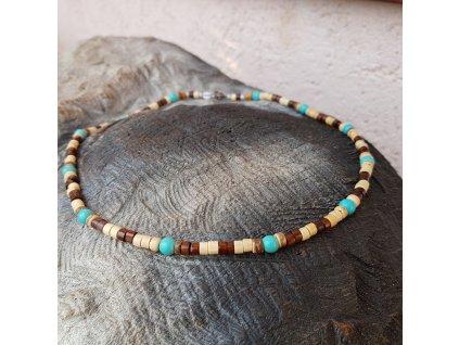 Menko 18 Pánský náhrdelník (dřevo, tyrkys)1