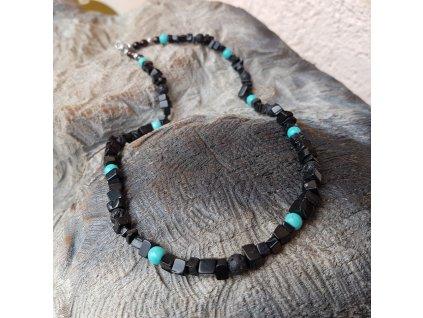 Mur Pánský náhrdelník (onyx, láva, tyrkys)1