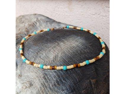 Menko 19 Pánský náhrdelník (tyrkys, dřevo)1