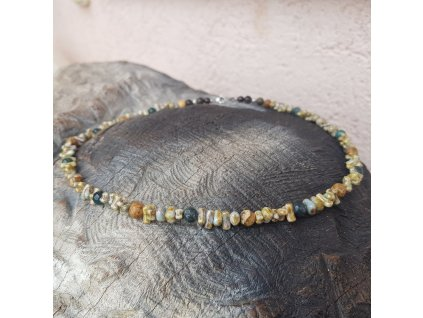 Yaho Pánský náhrdelník (achát, jaspis, sklo)1