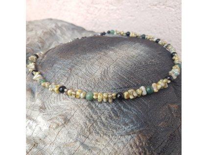 Yaho 2 Pánský náhrdelník (achát, onyx, sklo)1