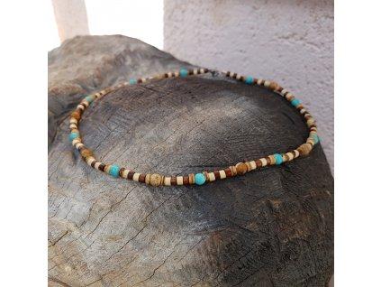 Menko 21 Pánský náhrdelník (tyrkys, dřevo)1