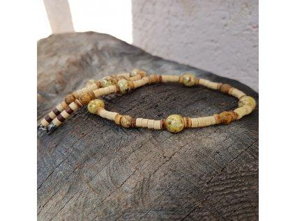 Veli 3 Pánský náhrdelník (dřevo, sklo, jaspis)1