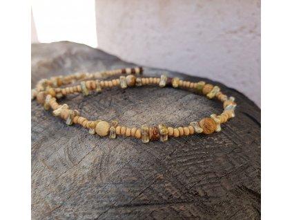 Yoho 3 Pánský náhrdelník (dřevo, jaspis, sklo)1