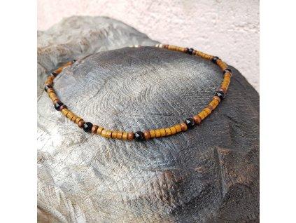 Freddy 3 Pánský náhrdelník (onyx, dřevo)1