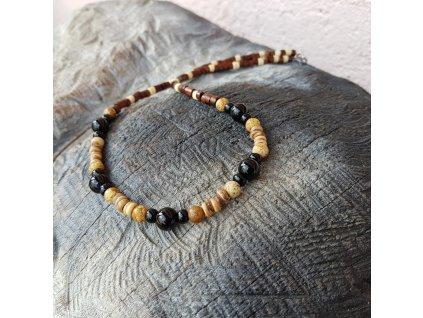Freddy 4 Pánský náhrdelník (onyx, jaspis, dřevo)1