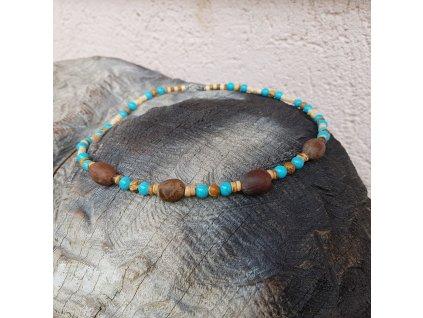 Timo 2 Pánský náhrdelník (lotos, tyrkys, dřevo)1