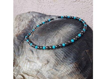 Rick Pánský náhrdelník (hematit, tyrkys)1