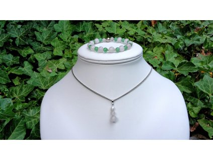 """SADA - """"Three"""" Náhrdelník (ocel, růženín, perla) + """"Lessi"""" náramek (ag, avanturín a růženín)"""