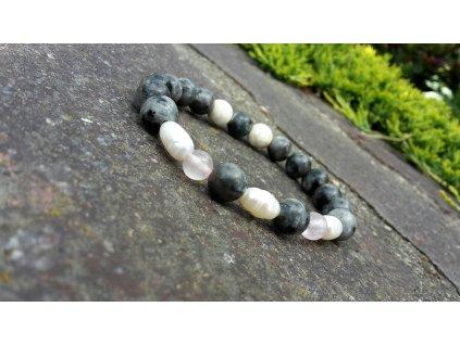 Miss pearl Náramek (labradorit,perle,růženín)1