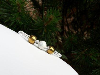 Diamond 1 Náramek(hematit,howlit, broušené sklo)1
