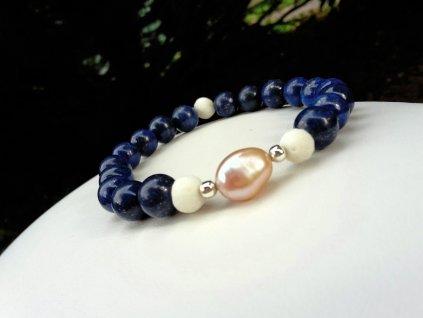 Yoko Náramek (lapis lazuli, perleť, perla,Ag )1