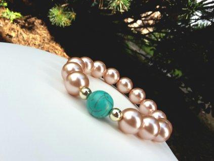 Monet Náramek (Tyrkys a voskové perly)1