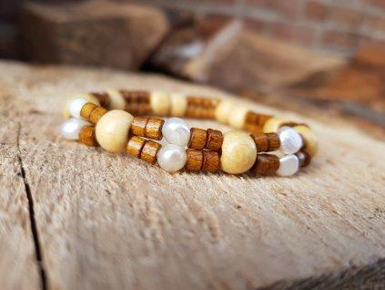 Purplé Náramek (dřevo a perly)1