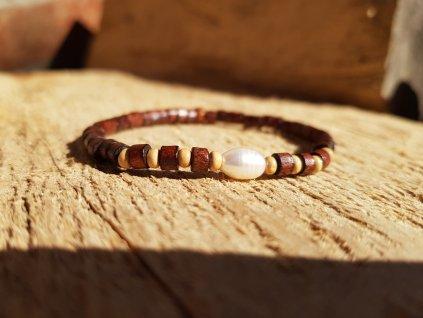 Yany Náramek (dřevo a perla)1